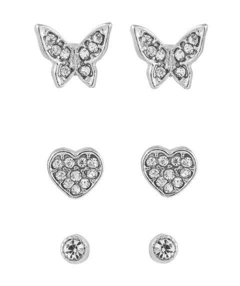SILVER BUTTERFLY STUD 3 PACK