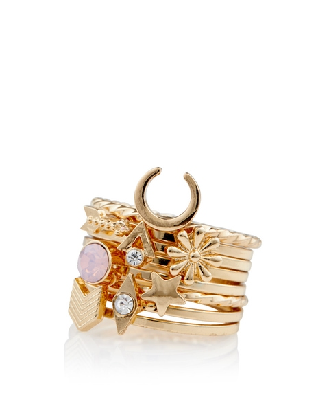 GOLD MIXED STONE RING PACK
