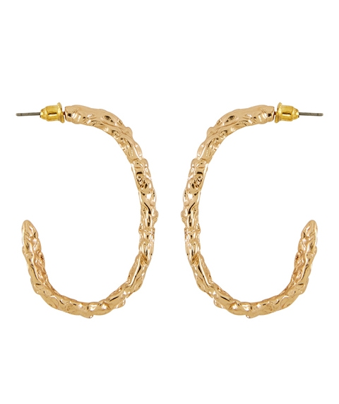 OVAL TEXTURED HOOP EARRING
