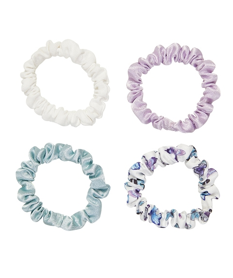 SATIN SCRUNCHIE 4 PACK