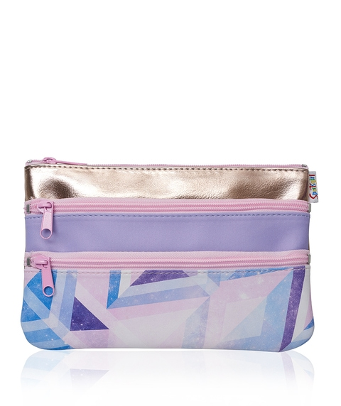 GEOMETRIC TRIPLE ZIPPER BEAUTY BAG