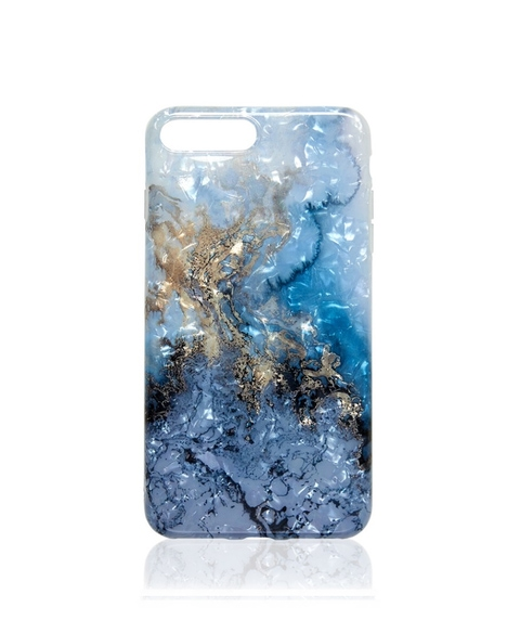 7/8 BLUE METALLIC MARBLE PHONE CASE