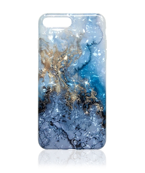 7+/8+ BLUE METALLIC MARBLE PHONE CASE