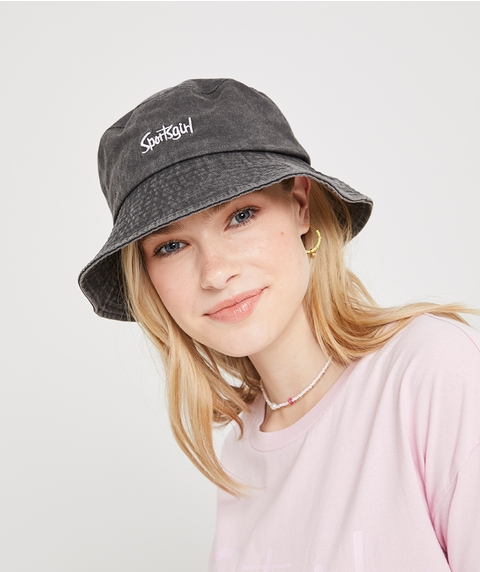 REWIND BUCKET HAT - WASHED BLACK DENIM