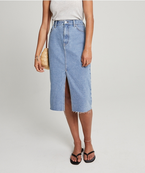 SPLIT RIGID DENIM MIDI SKIRT