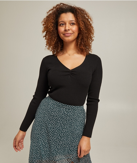 RUCHED FRONT RIB TOP