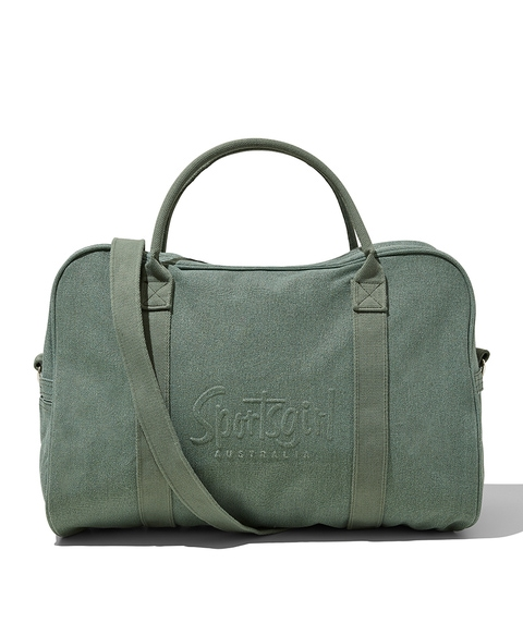 KHAKI RAISED LOGO DUFFLE BAG