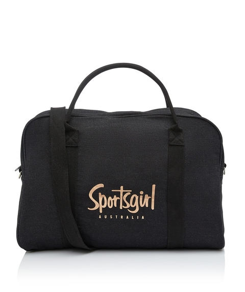 WASHED BLACK DENIM DUFFLE BAG