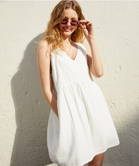LINEN BLEND SWING DRESS