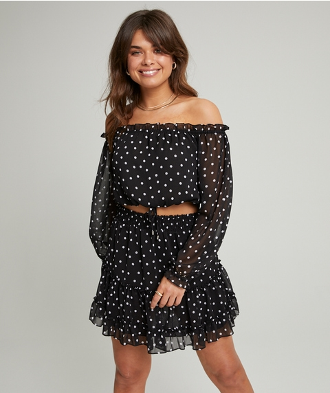 SPOT TIERED SHEER MINI SKIRT
