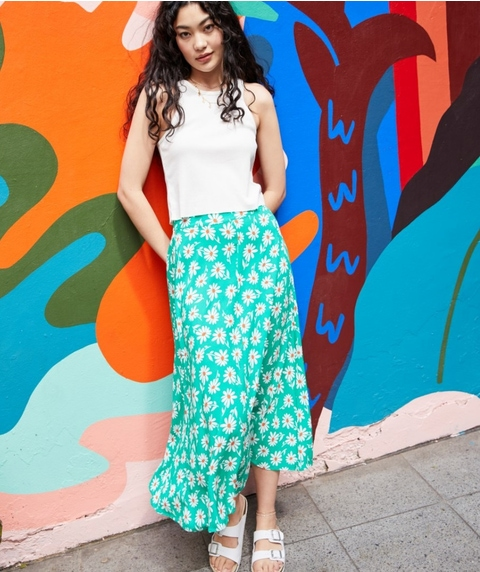 FLOATY MIDI SKIRT