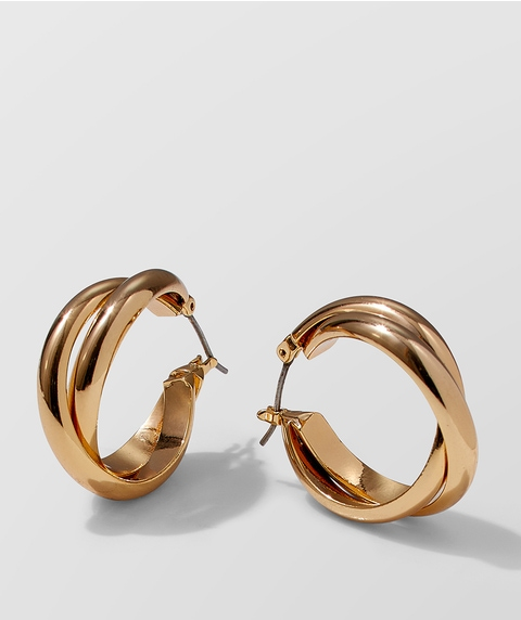 24K GOLD PLATED TWISTED HOOP EARRINGS
