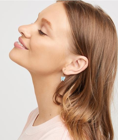 TURQUOISE BUTTERFLY HOOP EARRING