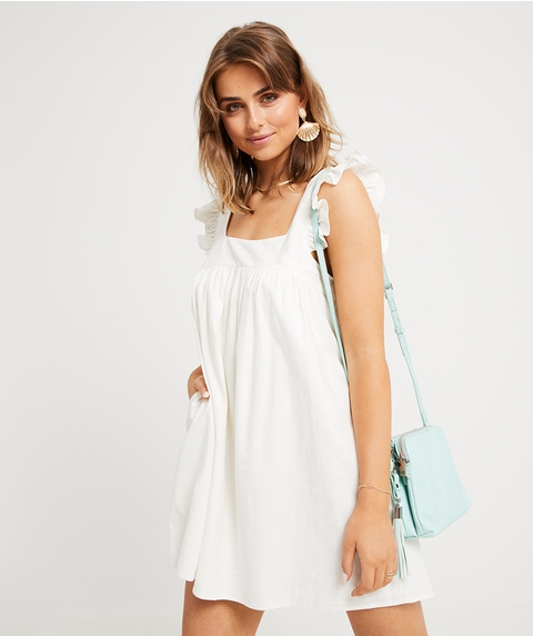FRILL STRAP LINEN MINI DRESS