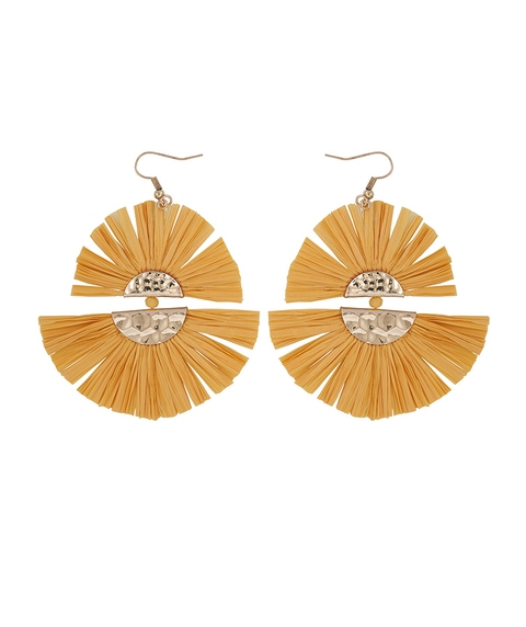 MUSTARD TWO TIER FRINGE EARRINGS