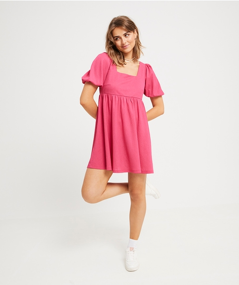 BALLOON SLEEVE BABYDOLL DRESS