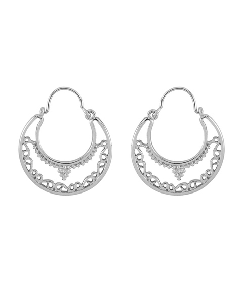 SILVER DAINTY BOHO HOOP EARRINGS