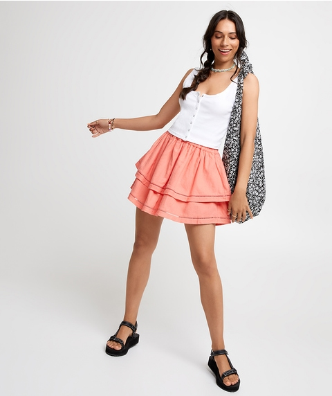 LACE SPLICED MINI SKIRT
