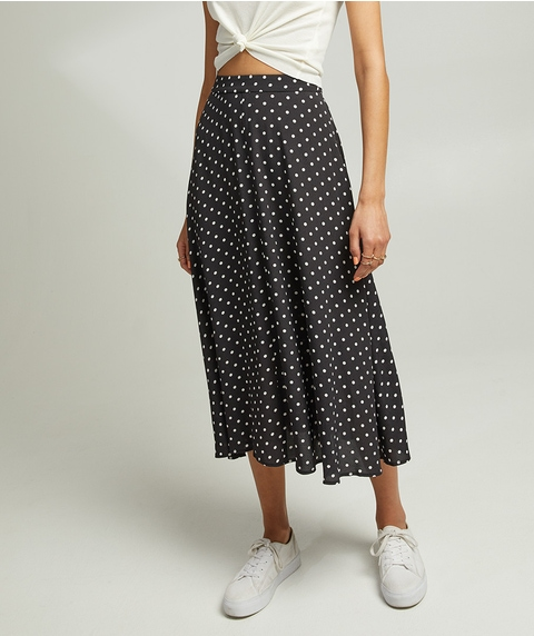 SPOTTED CREPE MIDI SKIRT