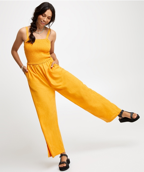 SHIRRED BODICE JUMPSUIT