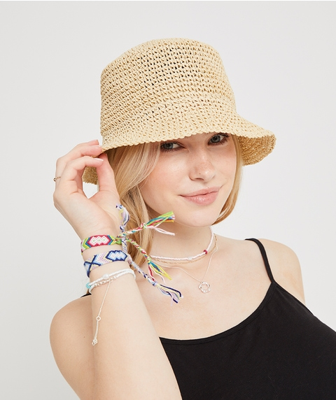 ALLY STRAW BUCKET HAT