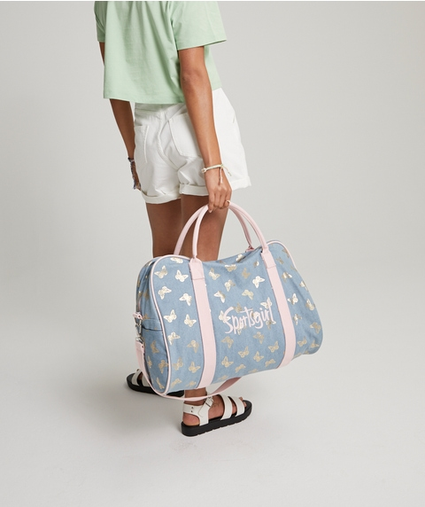 METALLIC BUTTERFLY DUFFLE BAG