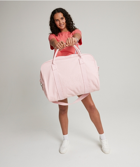 PINK RAISED LOGO DUFFLE