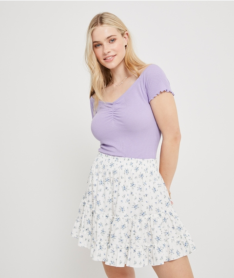 TIERED LINEN MINI SKIRT