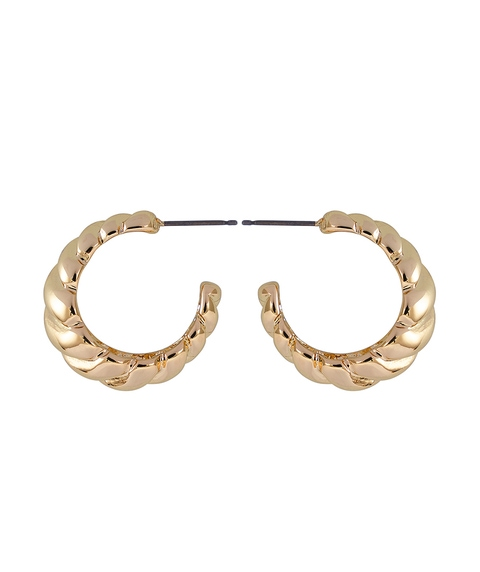 GOLD CHUNKY CHAIN DETAIL HOOPS