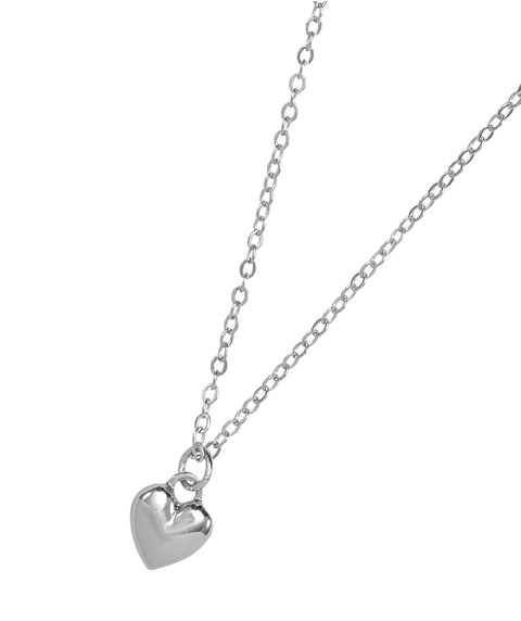 SILVER MINI HEART SHORT NECKLACE