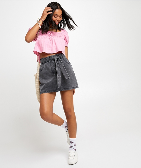 TIE WAIST DENIM MINI SKIRT