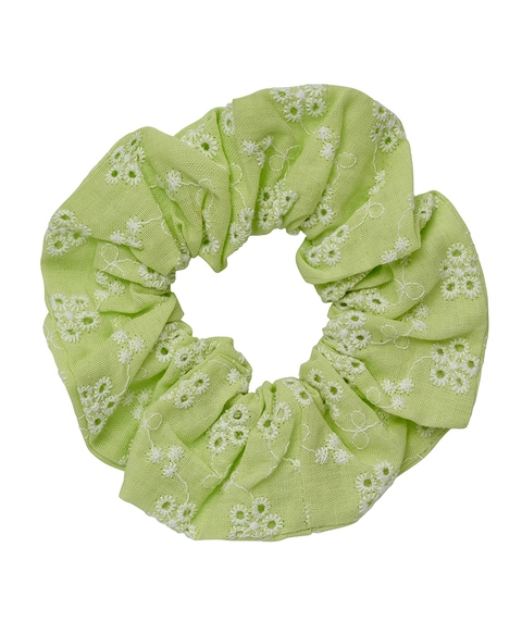 LIME BROIDERY SCRUNCHIE