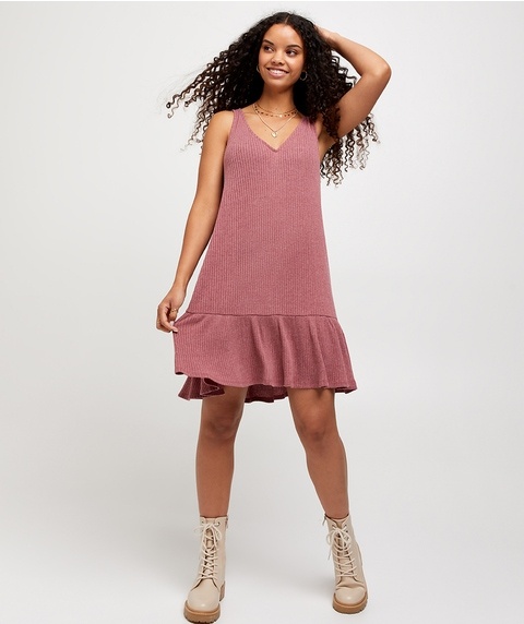 RIB SLEEVELESS SMOCK DRESS