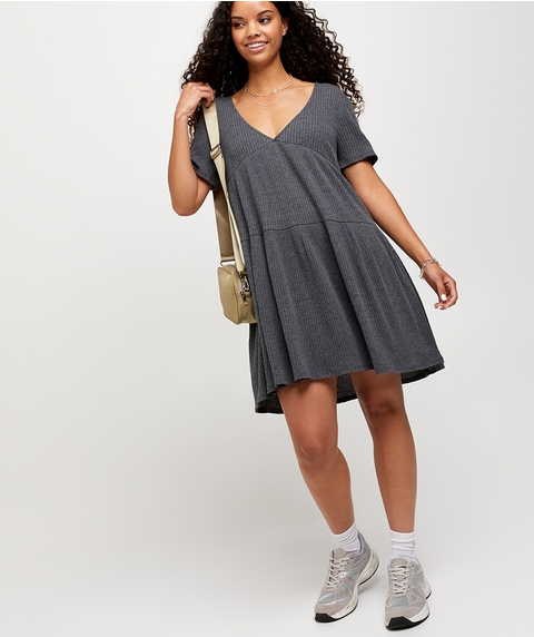 V NECK SHORT SLEEVE SMOCK DRESS