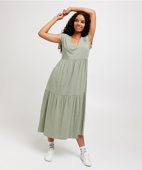 V NECK BABYDOLL MAXI DRESS