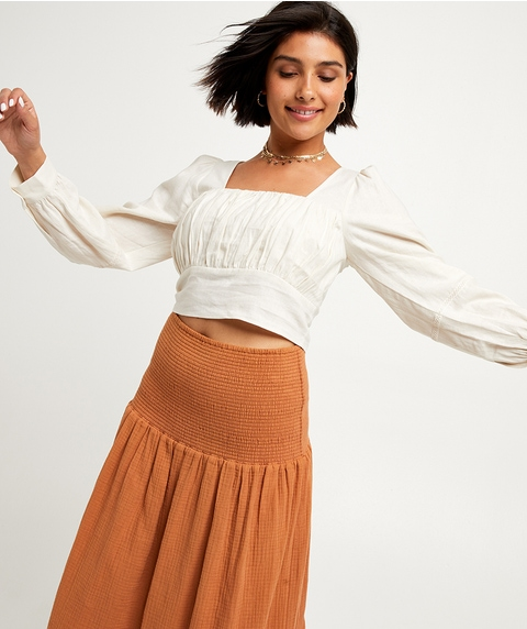 LACE TRIM LINEN TOP