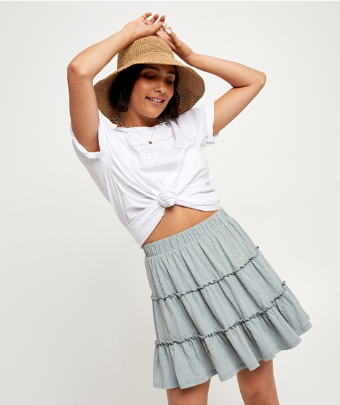 WASHED TIERED MINI SKIRT