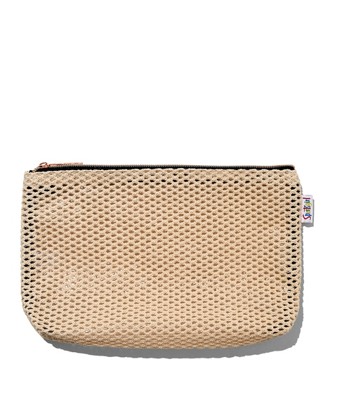 EMILY ECRU MESH BEAUTY BAG