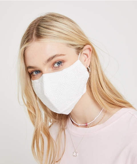 FASHION FACE MASK - WHITE BRODERIE