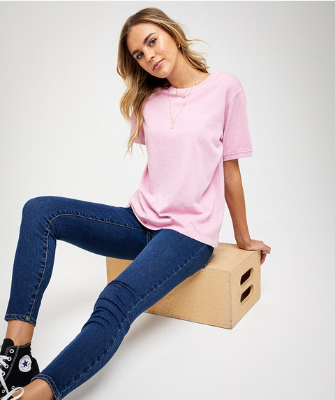 COTTON WASHED CREW NECK TEE