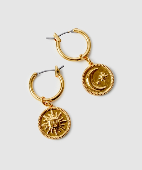 24K GP CELESTIAL COIN HOOP EARRINGS