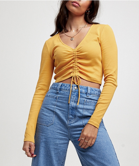 RUCHED LONGSLEEVE TOP