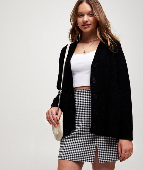 OVERSIZED BUTTON THROUGH CARDIGAN
