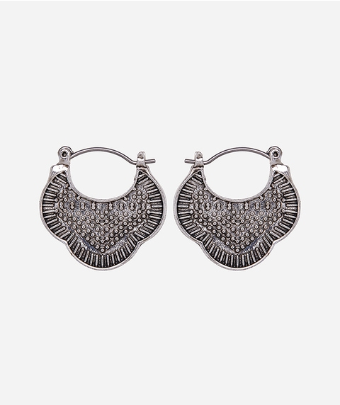 SILVER ETCHED BOHO EARRING