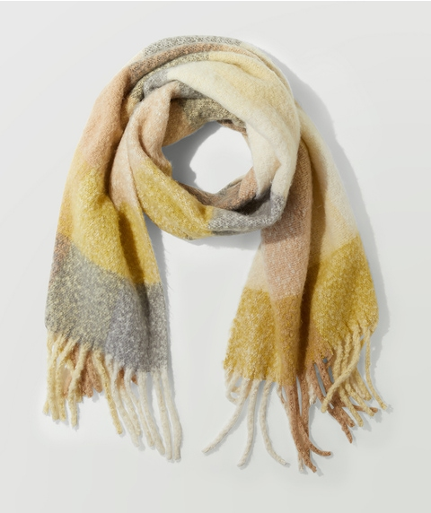 LILY CHECK SCARF - MUSTARD