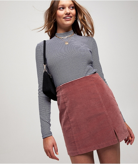 SPLIT FRONT CORD MINI SKIRT