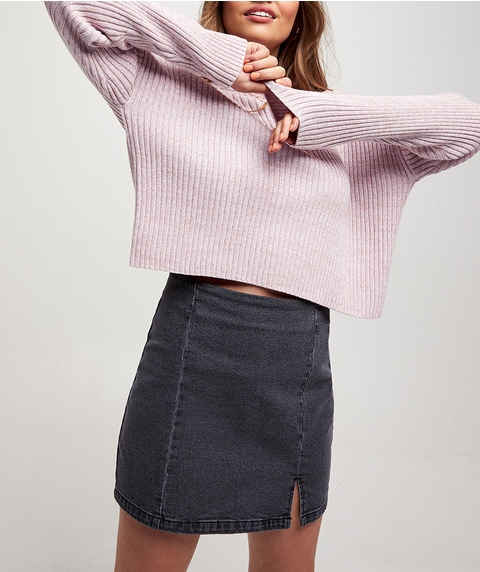 SPLIT FRONT DENIM MINI SKIRT