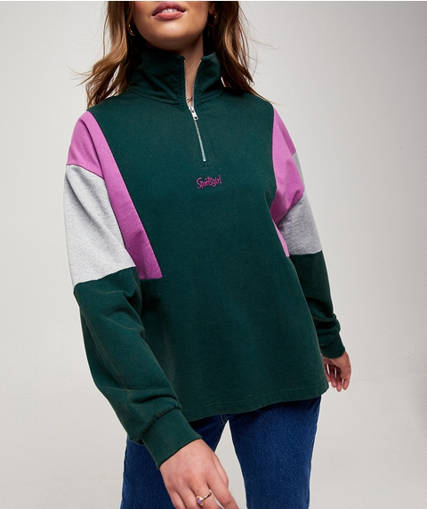 COLOUR BLOCK ZIP FRONT JUMPER