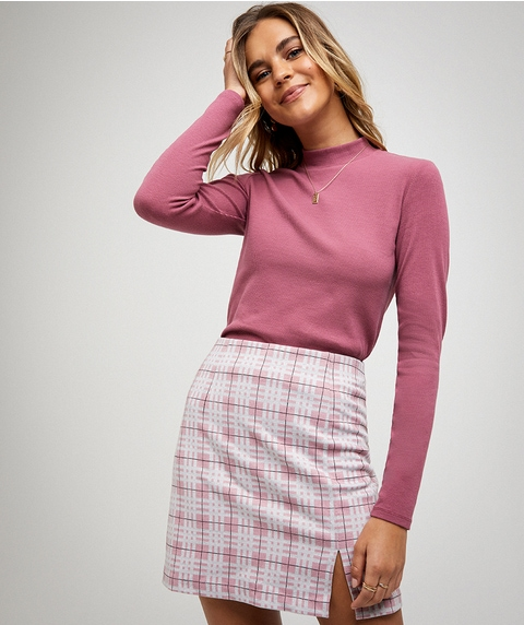 FITTED RIB MOCK NECK TOP