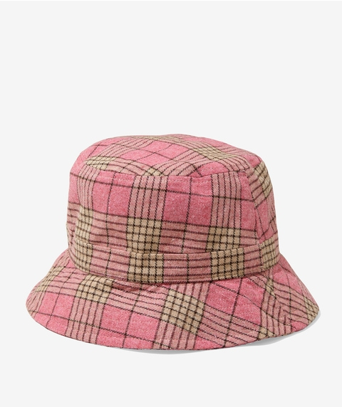 PENNY PINK CHECK BUCKET HAT